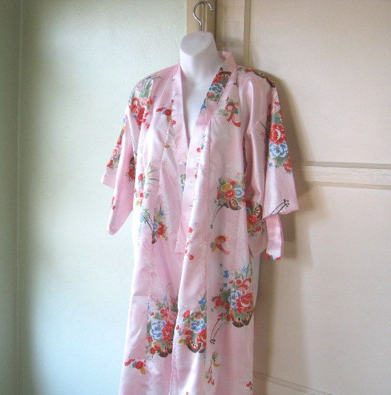 Unworn/Deadstock Vintage Pink Kimono Robe - Large Pink Asian Robe - Madame Butterfly Robe - Bohemian Robe - Pink Japanese Robe - Sexy Robe by LittleVintageStories on Etsy