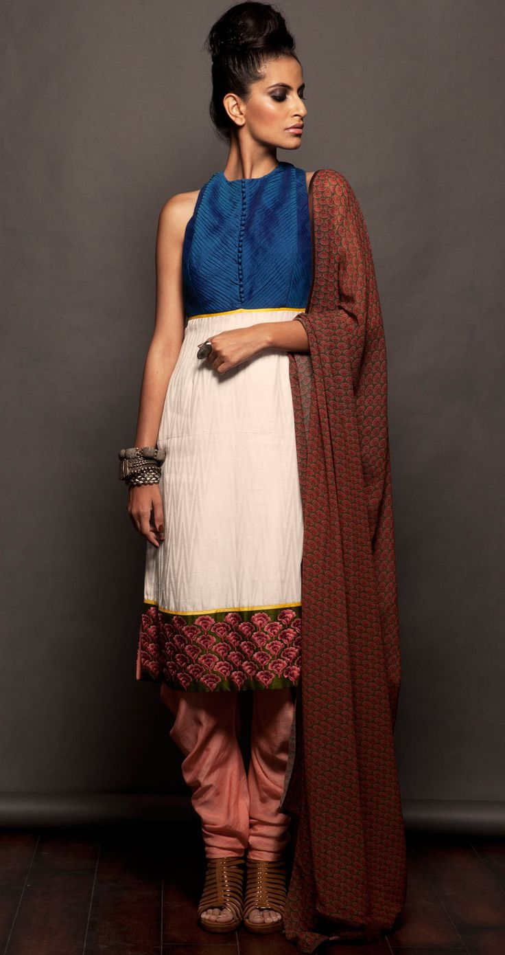 White, blue and pink straight fit kurta set available only at Pernias pop-up shop.