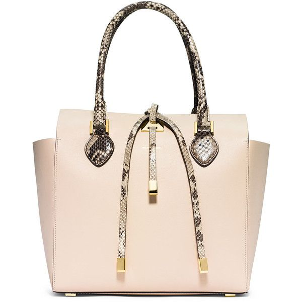 Michael Kors Miranda Medium Python-Trim Tote Bag (20,175 MXN) ❤ liked on Polyvore featuring bags, handbags, tote bags, vanilla, tote, python tote, square utility tote, michael kors tote and michael kors handbags