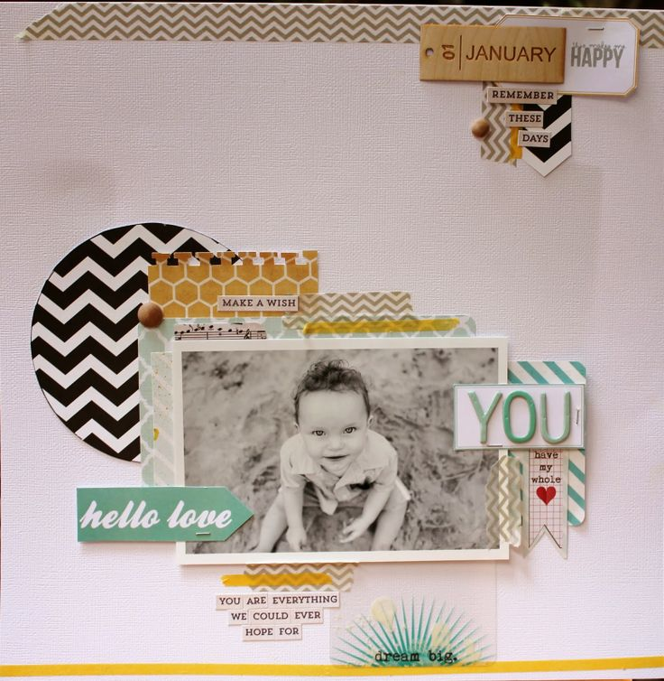12x12 layout using February's Project Life kit. By Kate van der Pol for Polly! Scrap Kits