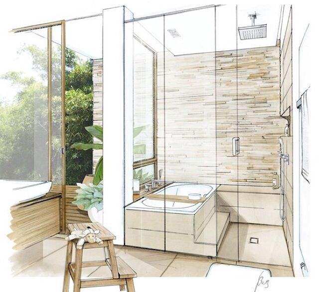 17 best ideas about interior sketch on pinterest for Bathroom designs drawing