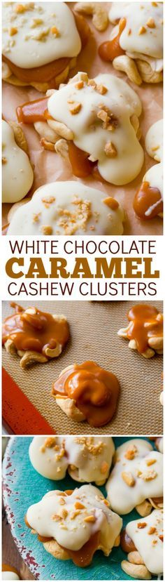 4 ingredient caramel cashew clusters! These candies are so easy and can be frozen for a simple make-ahead treat!