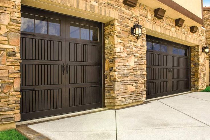 Stunning faux wood garage door from Wayne Dalton | This door is from our Fiberglass Garage Door Collection. Model 9800 with Sonoma panel design, walnut stained finish and 6 lite square windows. Learn more on our website: http://www.wayne-dalton.com/residential/designer-fiberglass/Pages/garage-door-model-9800.aspx