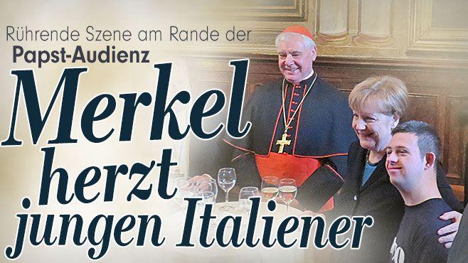Merkel herzt jungen Italiener | Rührende Szene am Rande der Papst-Audienz http://www.bild.de/politik/inland/angela-merkel/kanzlerin-herzt-jungen-italiener-39873752.bild.html