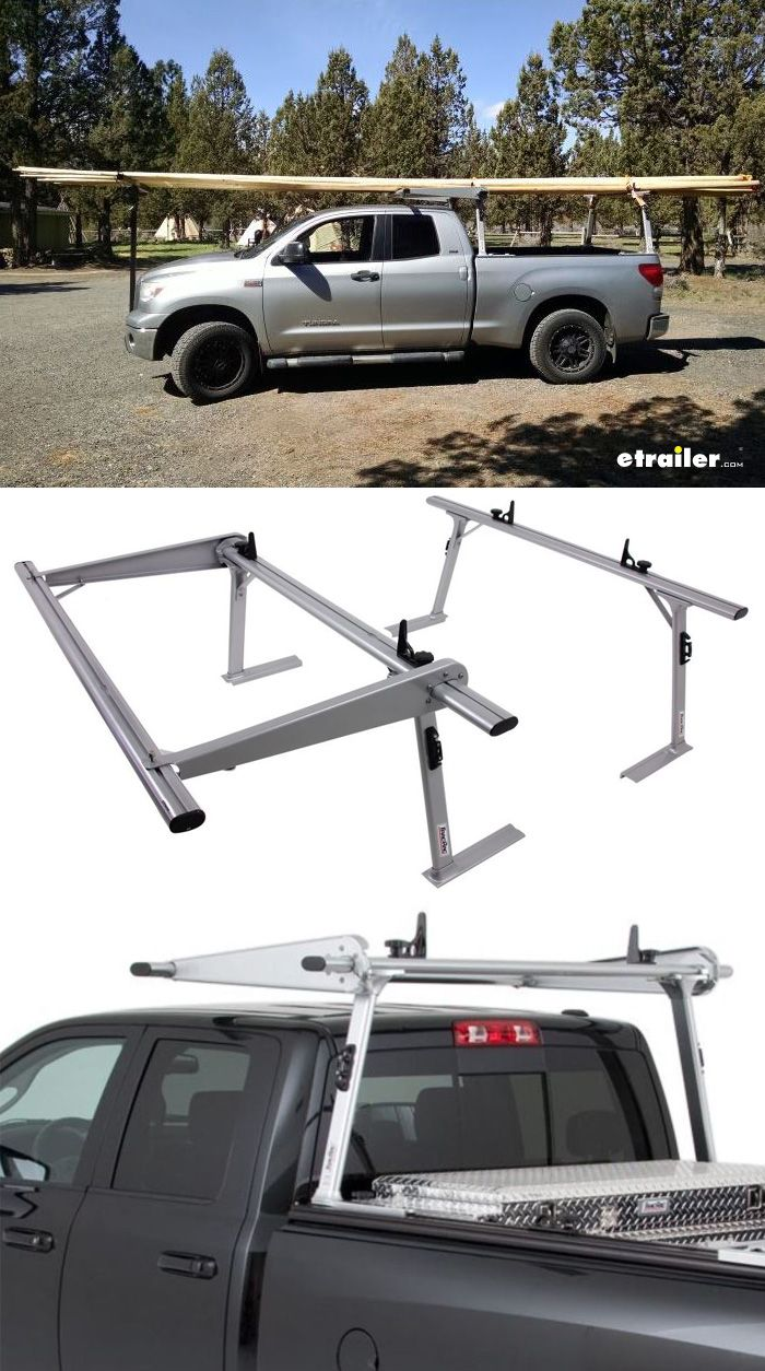 The ultimate utility truck accessory - sturdy, rustproof aluminum rack clamps securely onto your truck bed rails and has mounts for a crossover-style toolbox. Slotted crossbars let you easily adjust the included load stops. Over-the-cab extension lets you carry pipes, lumber, and more.