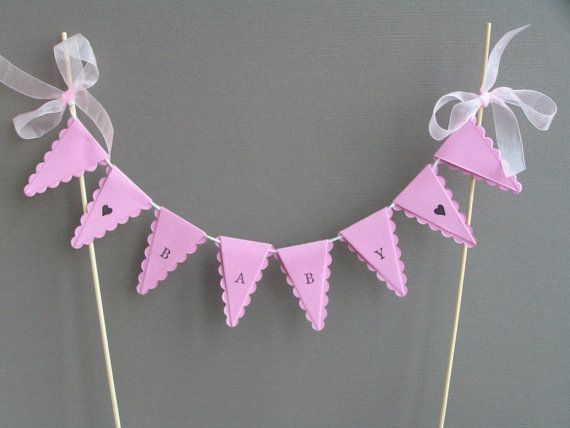 baby girl cake bunting pink new baby shower cake topper christening