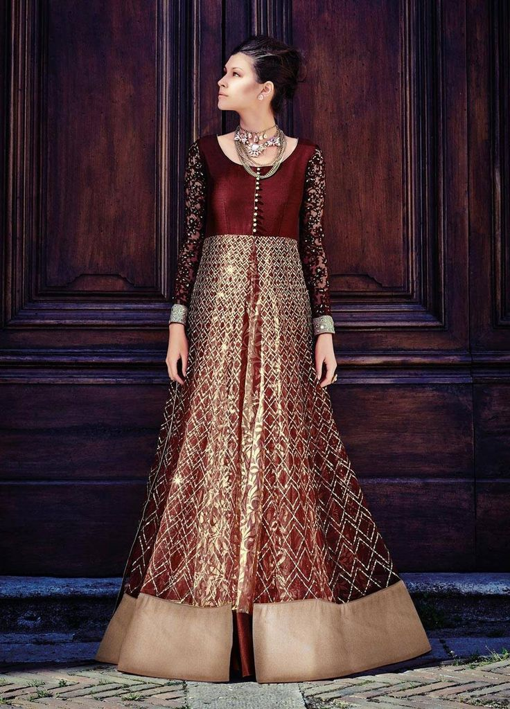 Maroon Net Floor Length Designer Suit 70207