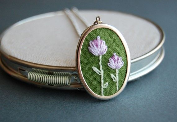 Embroidered Linen Pendant Necklace