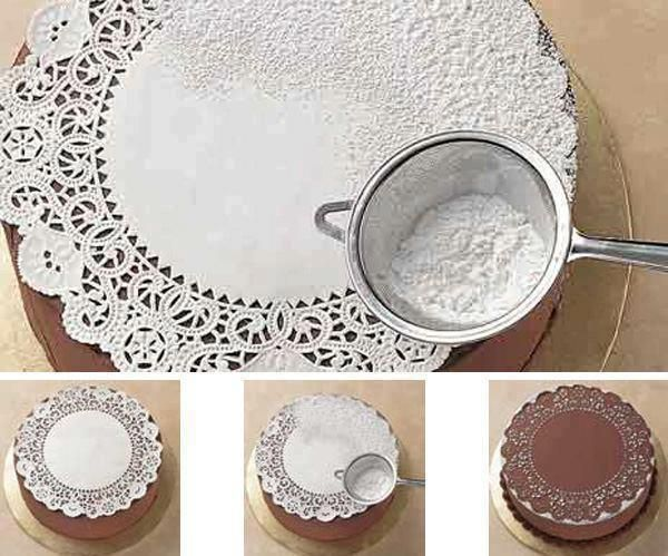 Stenciling Using Doily and Confectioners´ Sugar http://www.bakedecoratecelebrate.com/techniques/stencilingwithdoily.cfm?cat=6