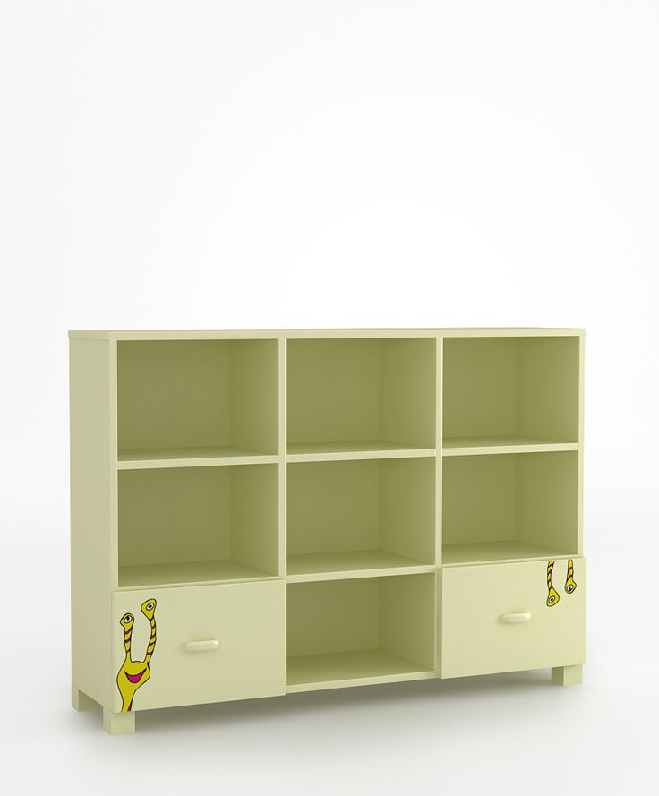 Regał 135 niski o wymiarach: 964x1346x339. dwie szuflady i półki zabezpieczone przed wypadnięciem, szuflady na prowadnicach BLUM z systemem BLUMMOTION, krawędzie szuflad zaokrąglone, możliwość przyczepienia regału do ściany.