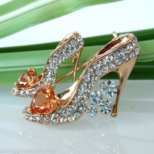 Golden Shoes  Swarovski Crystal Pin How to accessorize your look Go to slimmingbodyshapers.com for plus size shapewear and bras #slimmingbodyshapers   slimmingbodyshapers.com