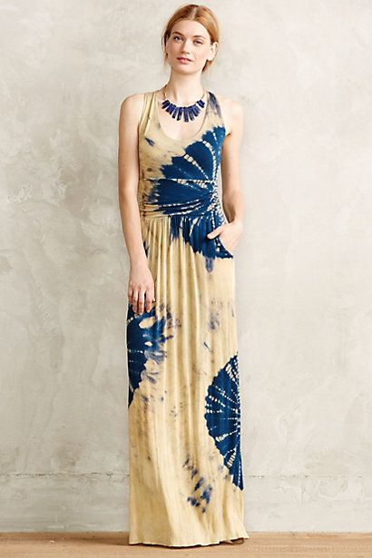 Shibori Tides Maxi Dress #anthropologie khaki and peacock blue!