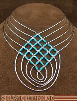 Hand Strung Liquid Sterling Silver & Blue Turquoise Basket Weave Necklace LS46BT