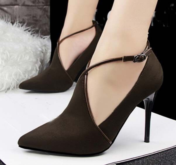 New Womens Sexy Stiletto High Heels Hollow Deep Mouth faux Suede shoes     Clothing, Shoes & Accessories, Women's Shoes, Heels   eBay!