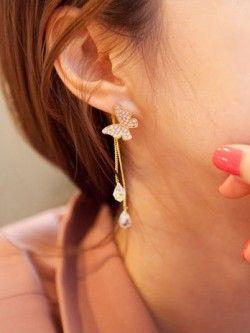 Rhinestone Butterfly Fall Earrings