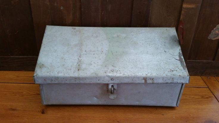 Vintage Large Rustic Galvanized Steel Lockable Mailbox With Red Metal Flag by maliasmark on Etsy