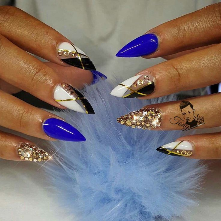 royal blue with black white and gold nail design nails