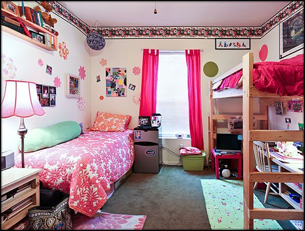 double dorm one loft you could set the other one up as a loft put both desks underneath the beds - Dorm Decor Ideas