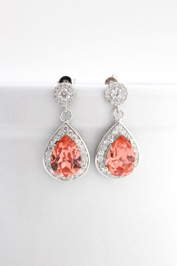 Coral Wedding Earrings