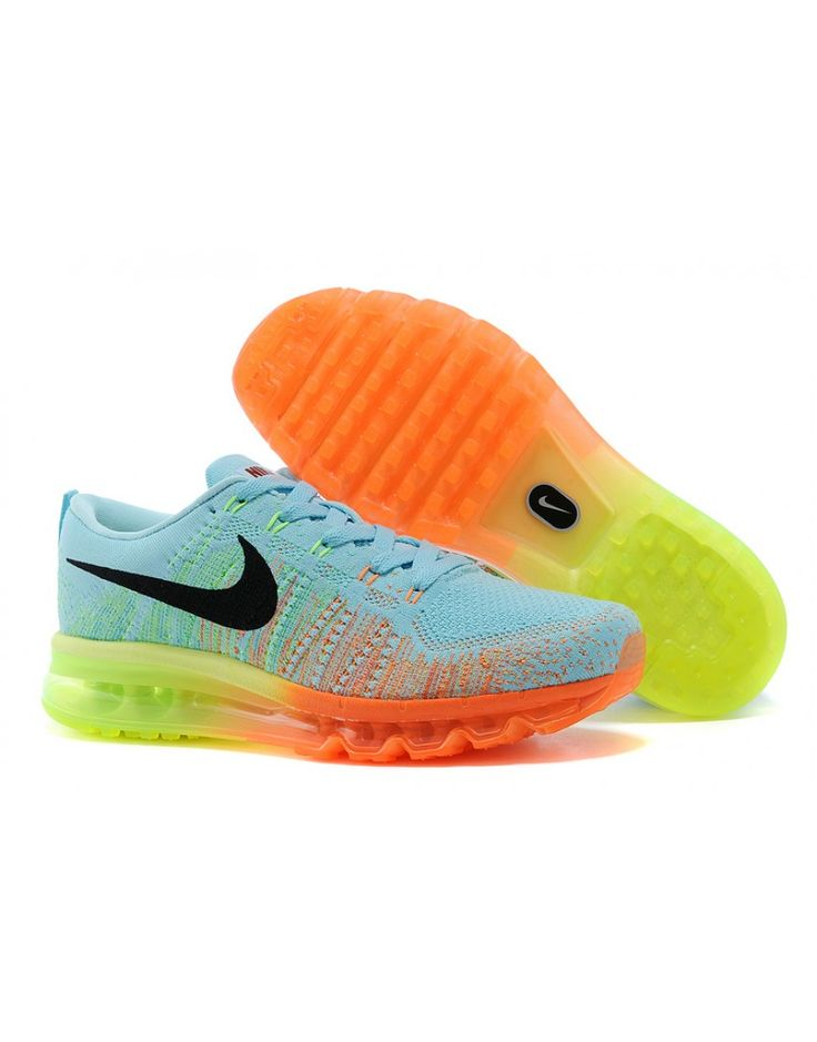Nike Women's Air MAX Flyknit Runing Shoes Light Blue and Orange 408D