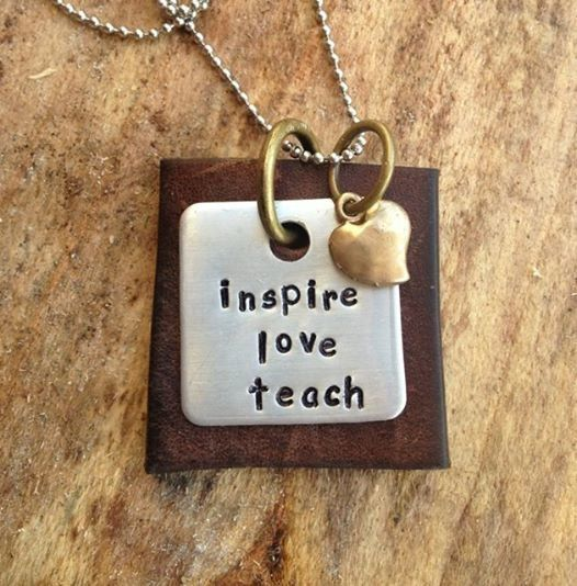 end of the year teacher gift. hand stamped inspire love teach leather hand stamped necklace mixed metal.