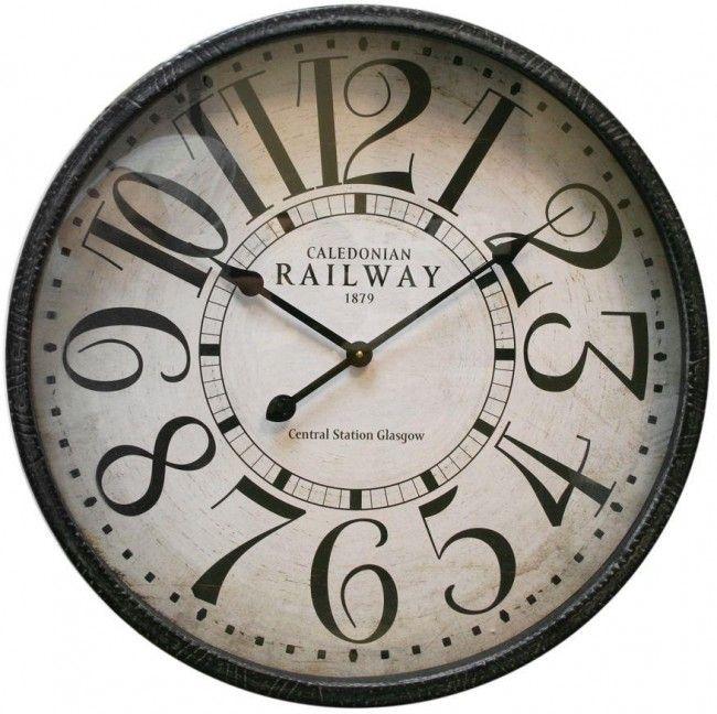 Round Metal Wall Clock 60 X 10cm Caledonian Railway Clock Bulova Wall Clock Large Round Wall Clock Grey Wall Clocks