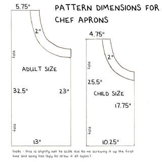 Adjustable chef's apron pattern
