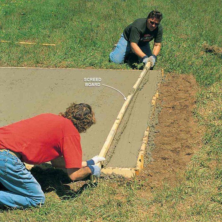 Best Shed Floor is a Concrete Slab - DIY Storage Shed Building Tips: http://www.familyhandyman.com/sheds/diy-storage-shed-building-tips#3