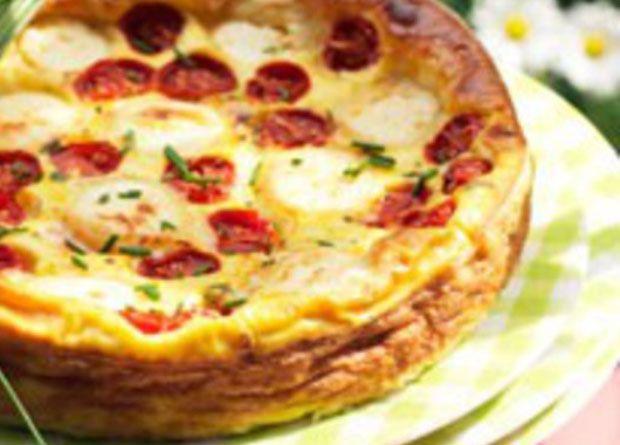 Quiche sans pâte au chèvre et à la tomate WW,recette d'une savoureuse et délicieuse quiche, facile à préparer pour un repas accompagné d'une bonne salade.