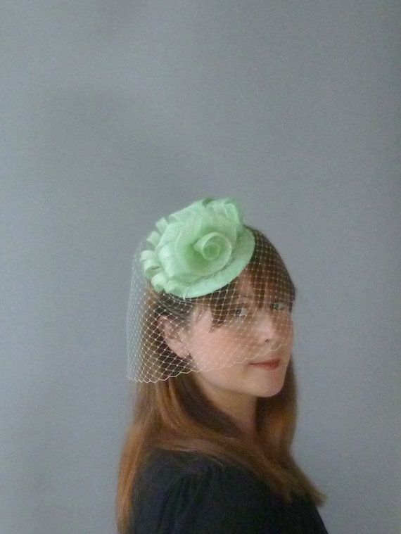 Mint Green Fascinator Veil Cocktail Hat. Sinamay by SophieShields