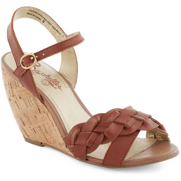 Seychelles Kill 'Em with Kindness Wedge in Caramel (200 GTQ) ❤ liked on Polyvore featuring shoes, sandals, wedges, heels, zapatos, seychelles sandals, ankle strap shoes, wedge heel sandals, ankle strap sandals and grip shoes