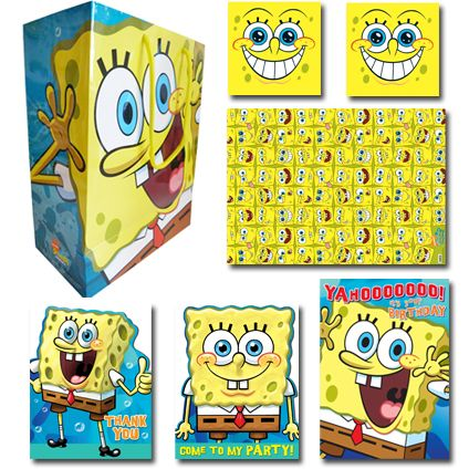 SpongeBob Squarepants Official Birthday Pack Birthday Includes: 1 x Birthday Card, 1 x Medium Sized gift bag, 2 x sheets of single wrap, 2 x gift tags, 1 x Pack of 10 Party Invitations, 1 x Pack of 10 Thank You Cards. Only £10.99 (20% saving) and FREE UK Delivery. Take a closer look at https://www.danilo.com/Shop/Cards-and-Wrap/Birthday-Packs/Spongebob-Birthday-Pack