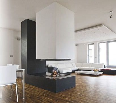 chemin e bois centrale foyer ferm contemporaine. Black Bedroom Furniture Sets. Home Design Ideas