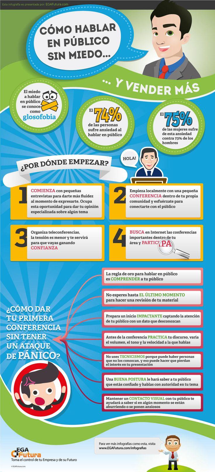 Cómo hablar en público sin miedo (y vender más) #infografia #infographic…