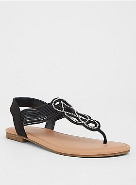 a07e8b86a8c50e Black Rhinestone T-Strap Sandal (Wide Width)