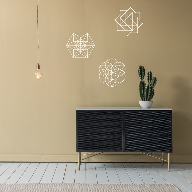 Sacred Geometry 3 Wall Decals Metallic Gold, Silver, Black or White
