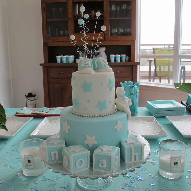 Tiffany Blue Themed Christening Cake - {click for more of this adorable event!} #christening #baptism