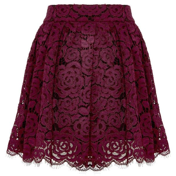 Fizer Pleated Lace Skirt ($298) ❤ liked on Polyvore featuring skirts, mini skirts, bottoms, short skirts, box pleat skirt, purple pleated skirt, pleated miniskirt and scalloped lace mini skirt