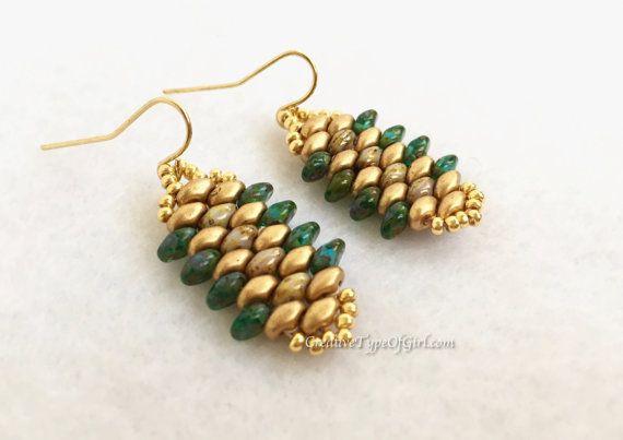 Gold and aqua SuperDuo earrings by aCreativeTypeOfGirl on Etsy