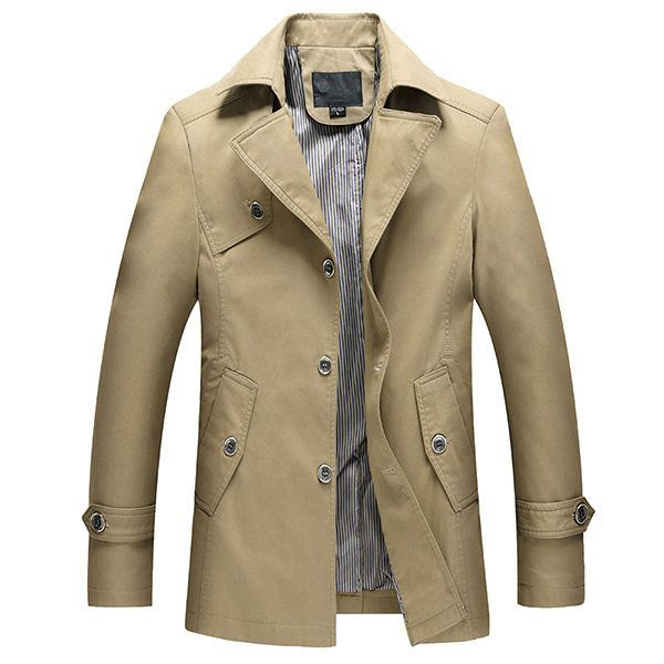Stylish Spring Fall Thin Slim Fit Men Windbreaker Trench Coat Cotton  Single-breasted Jackets