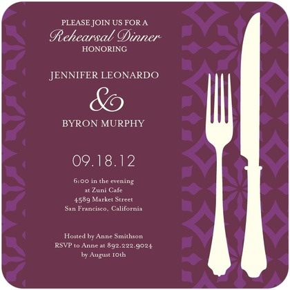 Signature White Rehearsal Dinner Invitations Patterned Style - Front : Chambord