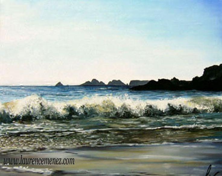"""""""Vagues"""" Toile peinte en peinture à l'huile, vagues sur la plage de Goulien à Crozon"""