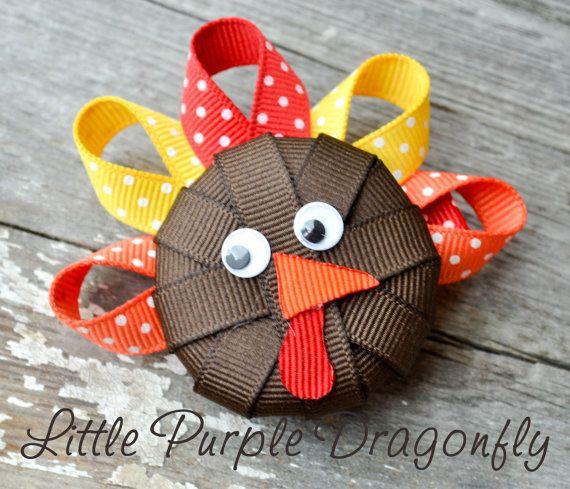 Turkey Thanksgiving Boutique Hair Clip Bow by LittlePurpleDragonfl, $3.99