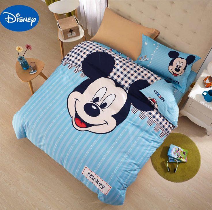 Mickey Mouse Comforters Set Bedclothes Cartoon Disney Bedding Textile Boy's Baby Bedroom Decor Twin Queen Size Cotton Blue Color #Affiliate