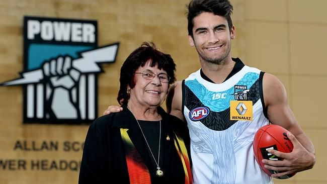 Chad Wingard and his grandmother Barbara who designed Port Adelaide's indigenous guernsey
