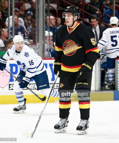 Bo Horvat of the Vancouver Canucks skates up ice during their NHL game against the Toronto Maple Leafs at Rogers Arena February 13 2016 in Vancouver...