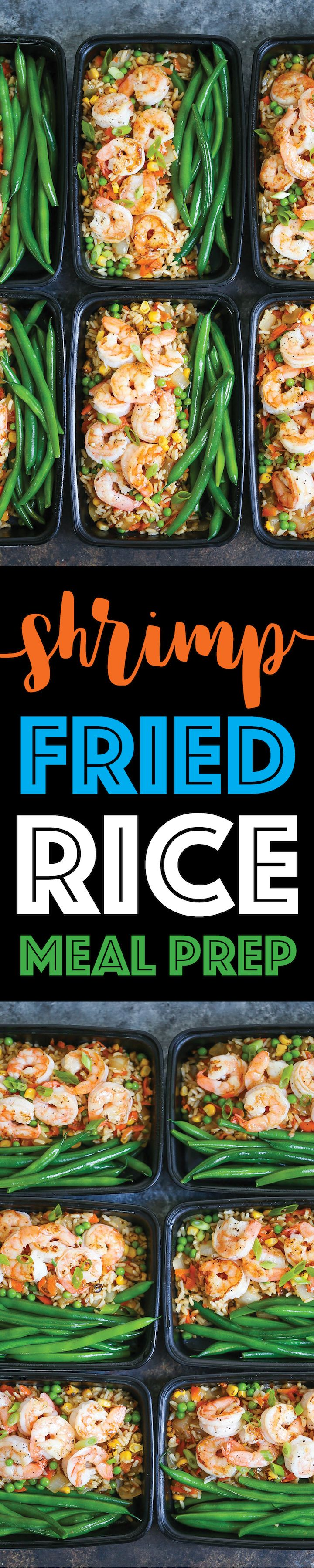 Shrimp Fried Rice Meal Prep - No need to order takeout anymore! Your favorite fried rice dish is packed right into meal prep boxes for the entire week!