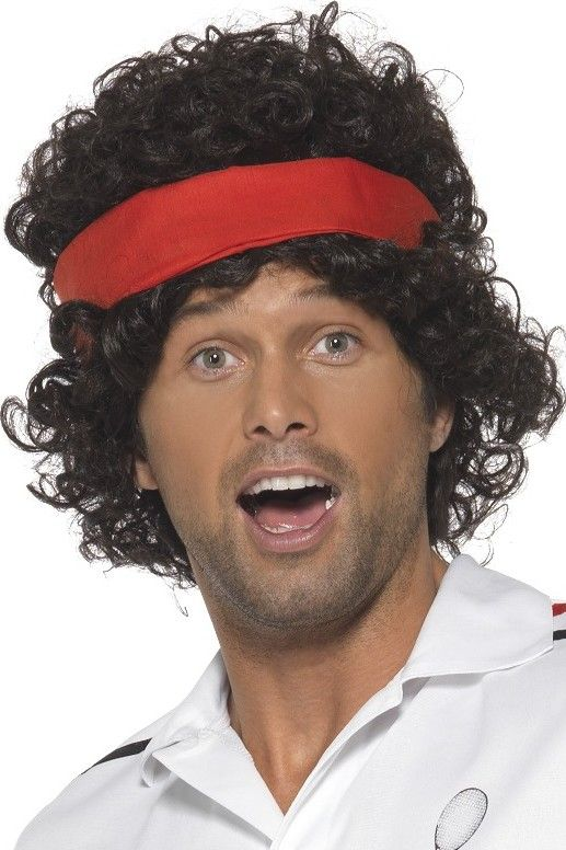 Tennis-Perücke 80er-Sportlerperücke mit Stirnband schwarz-rot , günstige Faschings  Accessoires & Zubehör bei Karneval Megastore, der größte Karneval und Faschings Kostüm- und Partyartikel Online Shop Europas!