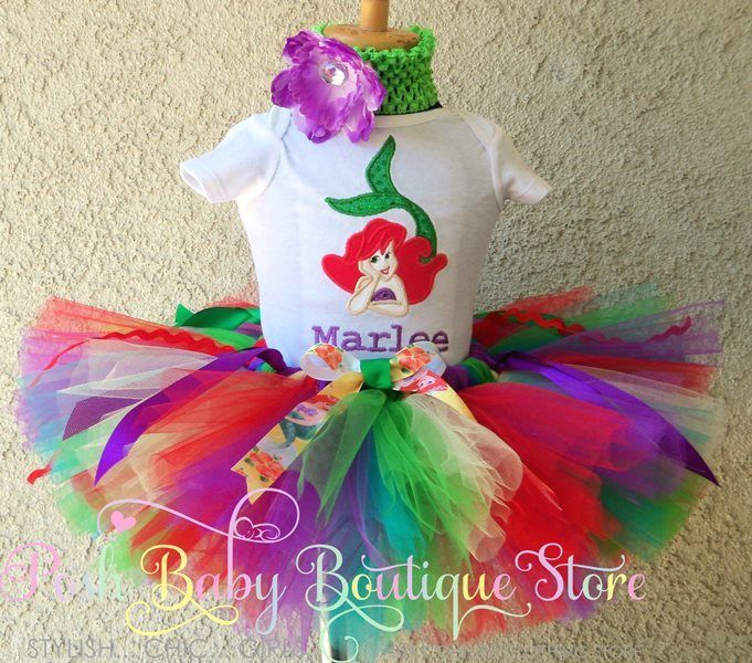 Green Red Rainbow Ariel Little Mermaid Birthday Tutu Outfit