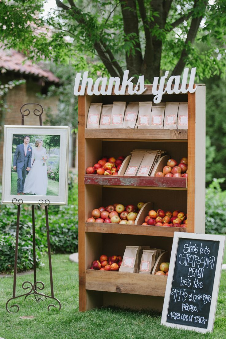 """She's his Georgia peach, he's the apple of her eye. Please take one of each."" So cute for a wedding!"